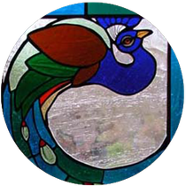 Peacock design on glass